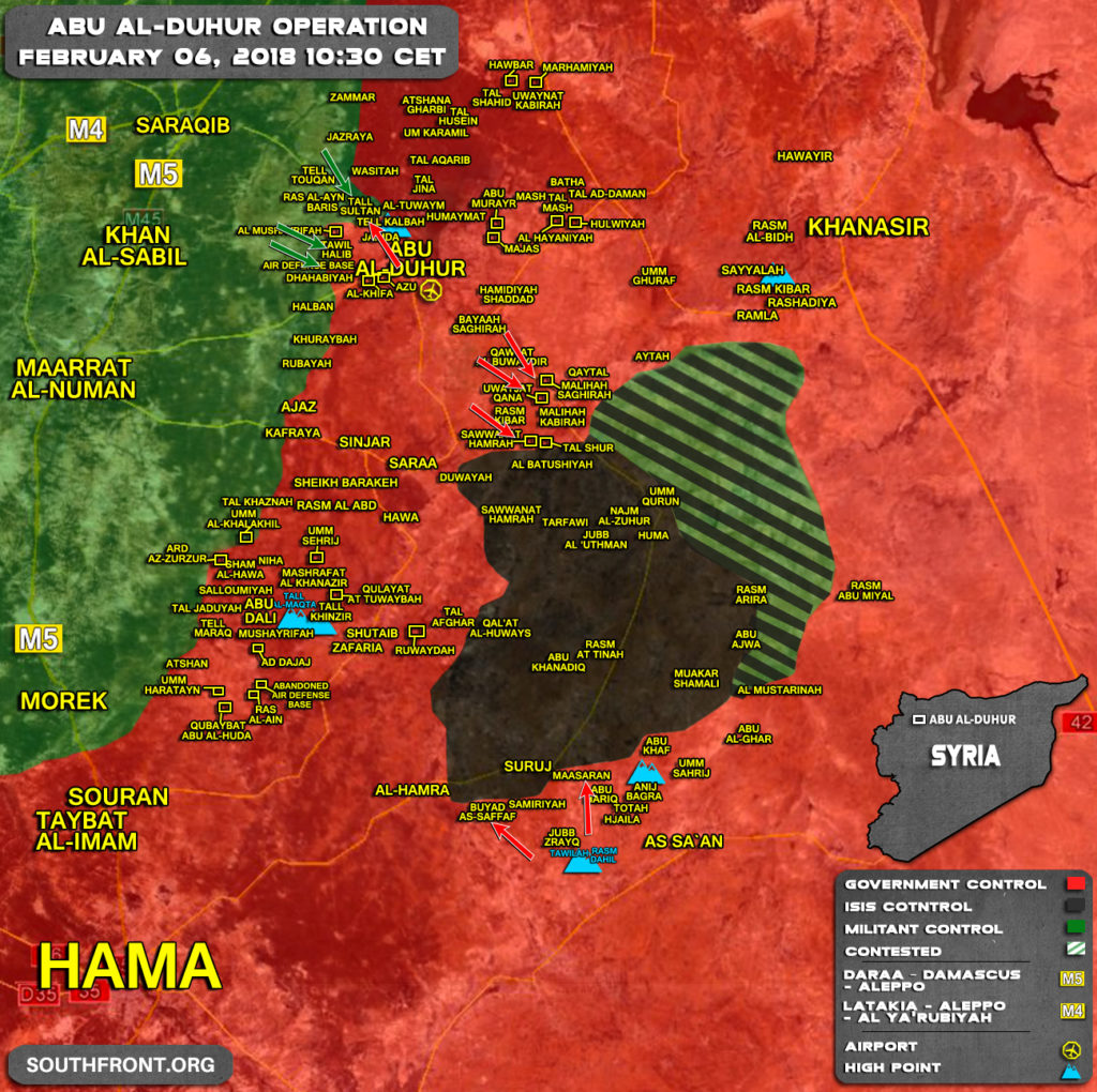 Military Situation In Abu al-Duhur Area On February 6, 2018 (Syria Map Update)