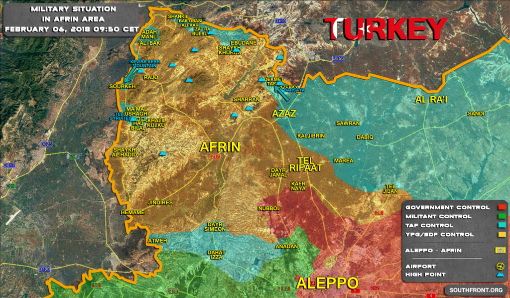 Military Situation In Syria's Afrin Area On February 6, 2018 (Map Update)