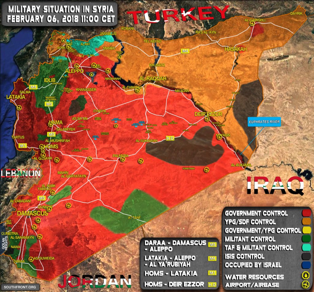 Military Situation In Syria On February 6, 2018 (Map Update)