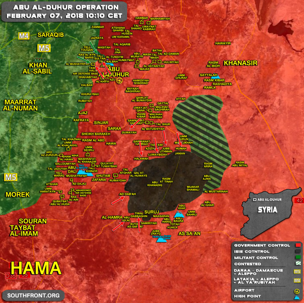 Military Situation In Abu al-Duhur Area On February 7, 2018 (Syria Map Update)