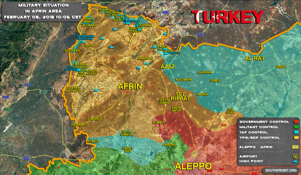 Military Situation In Syria's Afrin Area On February 8, 2018 (Map Update)