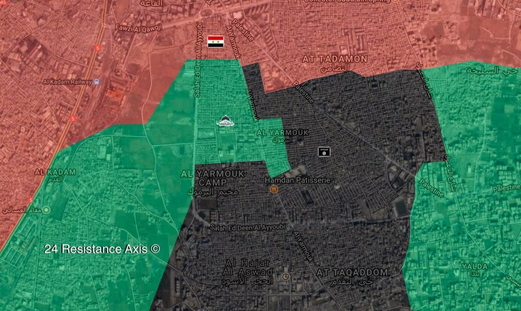 Map: Military Situation In Southern Damascus Following ISIS Advance In Yarmouk Camp Area