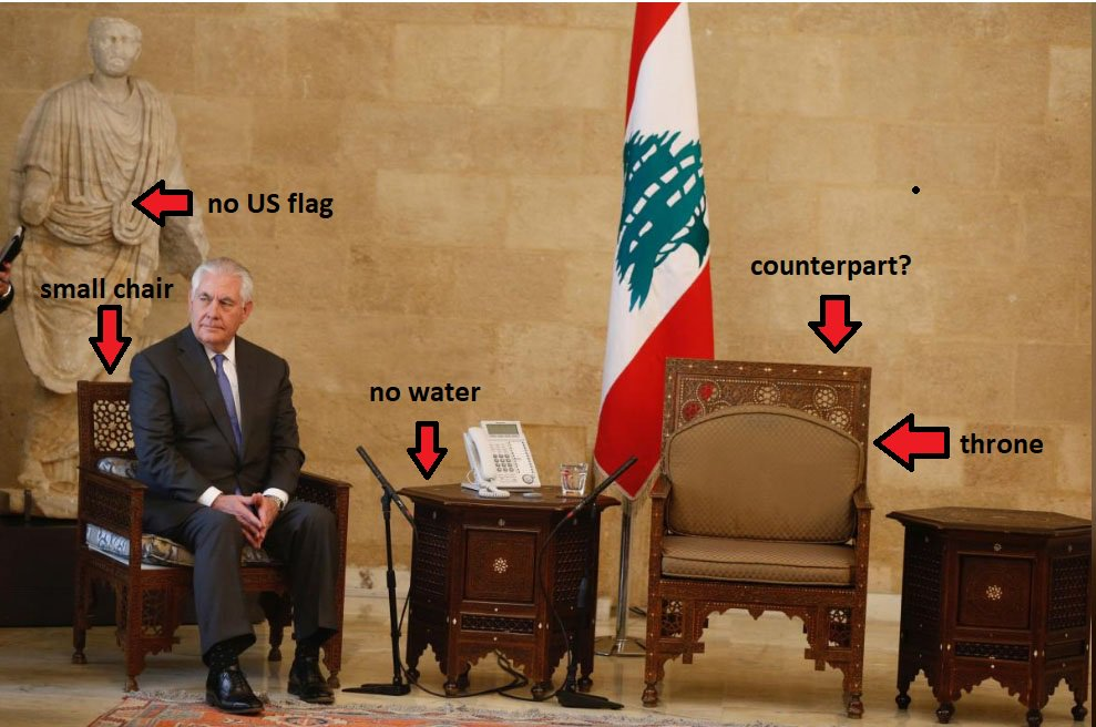Meeting Between US State Secretary And Lebanese President In One Picture