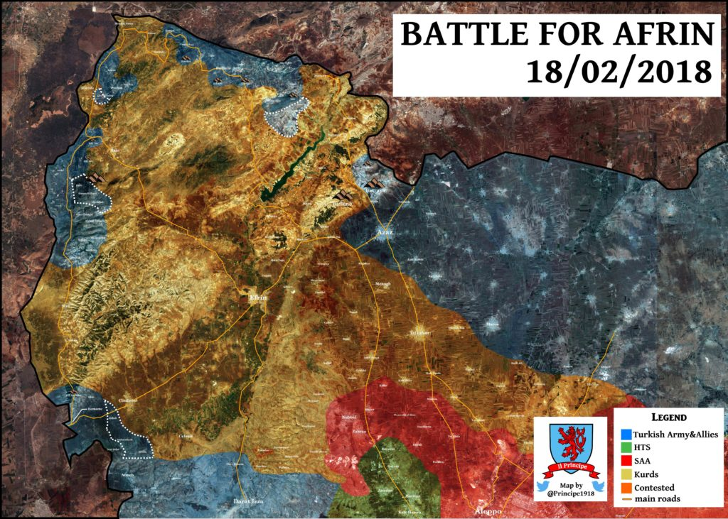Map Update: Turkish Amry Progress Against Kurdish YPG Forces In Syria's Afrin