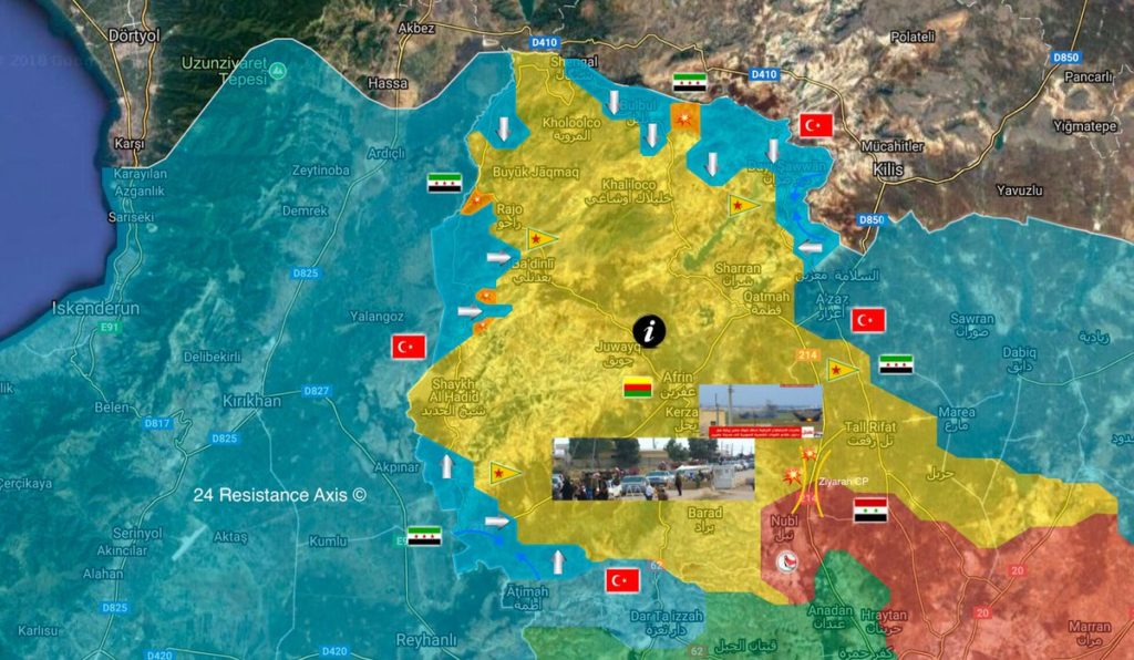 Map: Turkish Forces Capture Notable Area In Afrin. Government Forces Temporarily Halt Deployment