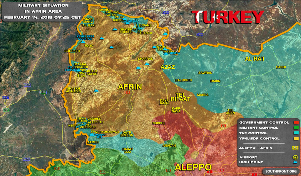 Military Situation In Syria's Afrin Area On February 14, 2018 (Map Update)