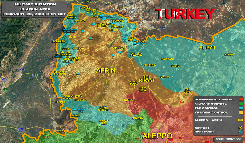 Turkish Army Advances West Of Afrin City. Kurdish Fighters Step Up Counter-Attacks (Videos)