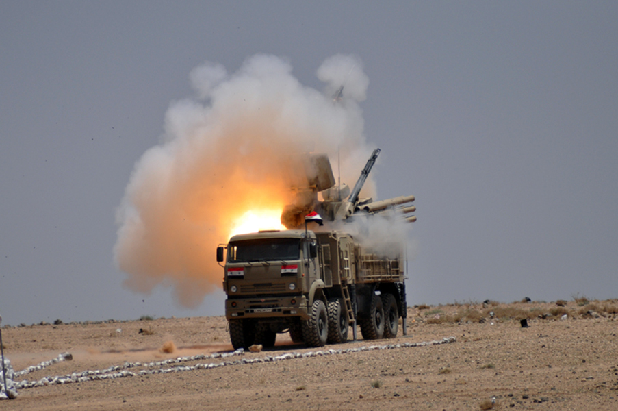 Syrian Pantsir-S1 Systems Intercept Rockets Over Al-Dumayr Airbase
