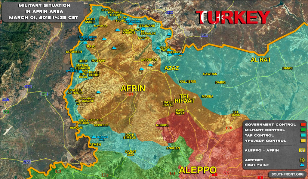 Map Update: Military Situation In Syrian Area Of Afrin On March 1