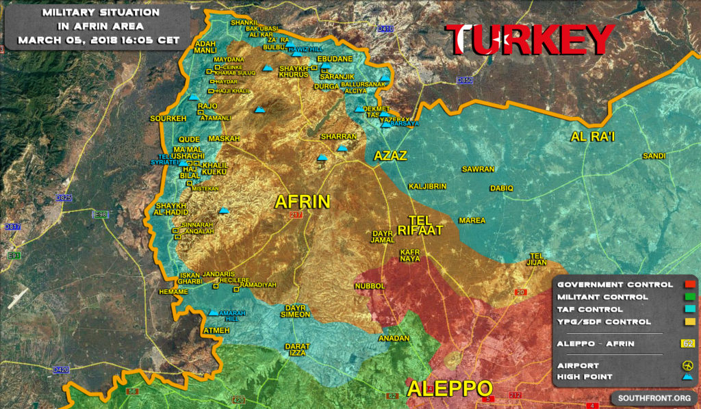 Map Update: Military Situation In Syrian Area Of Afrin On March 5, 2018