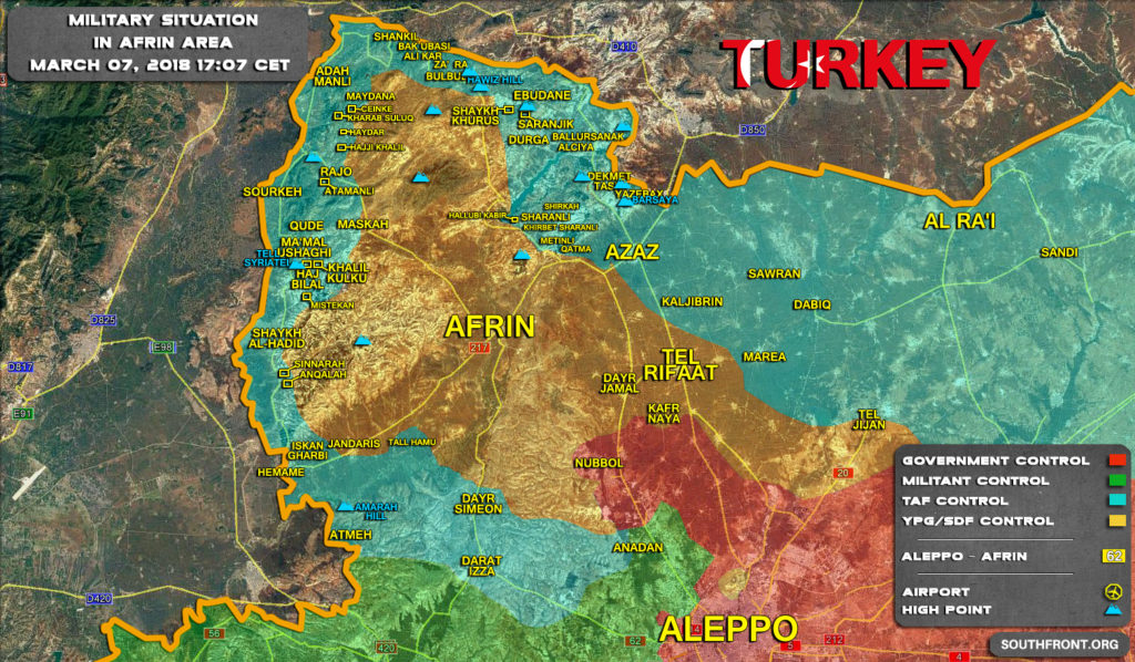Map Update: Military Situation In Syrian Area Of Afrin On March 7, 2018