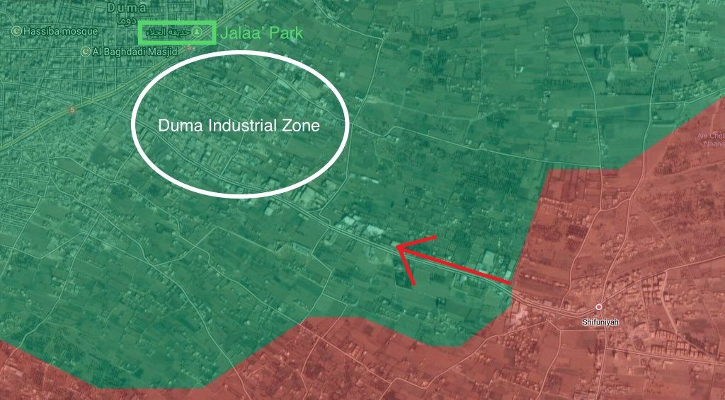 Tiger Forces Advance In Industrial Area South Of Douma In Eastern Ghouta (Map)
