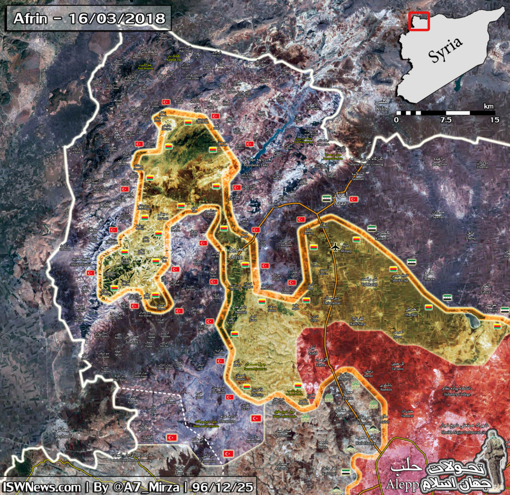 Overview Of Battle For Afrin On March 17, 2018 (Map, Video, Photo)