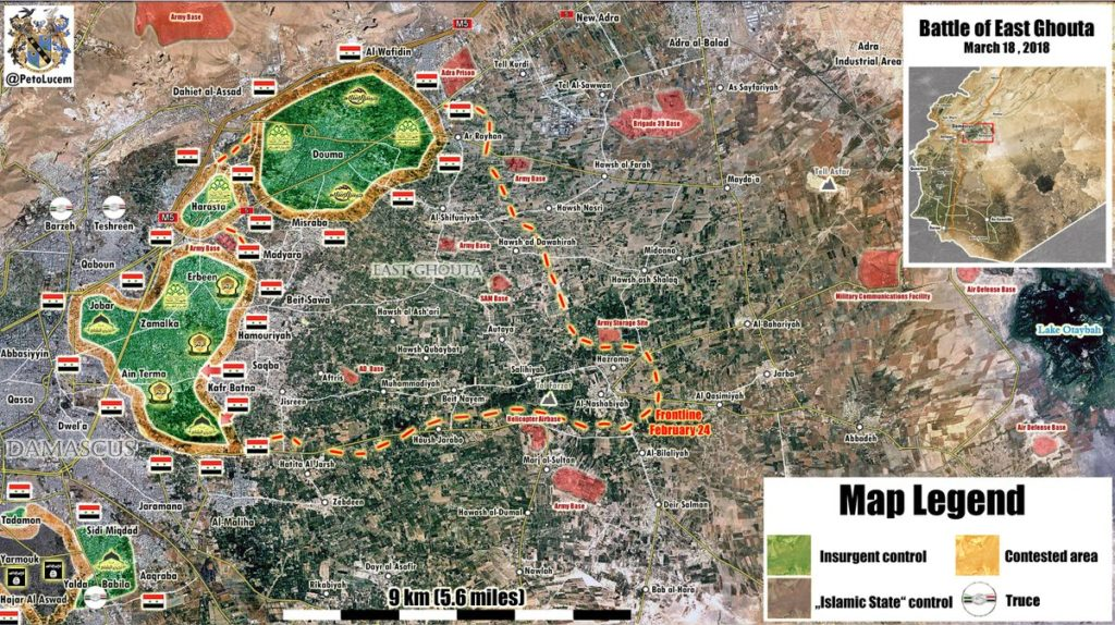 Overview Of Battle For Eastern Ghouta On March 19, 2018 (Map, Video)