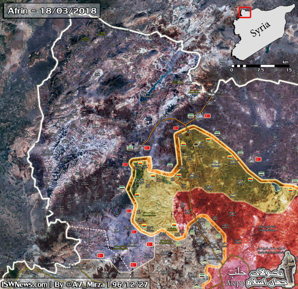 Map Update: Military Situation In Afrin Area Following Fall Of Afrin To Turks
