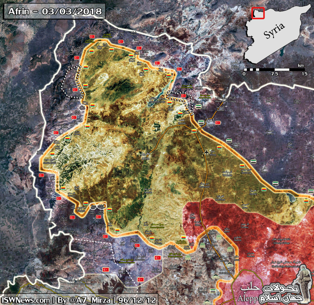 Turkish Forces Advance Further Northwest Of Afrin City (Map)