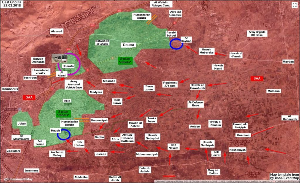 Overview Of Battle For Eastern Ghouta On March 23, 2018 (Map, Videos)