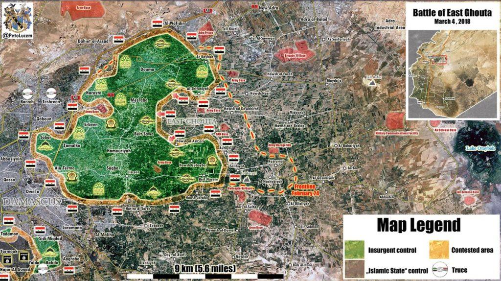 地図更新:東部Ghoutaの武装者に対する政府軍の進歩