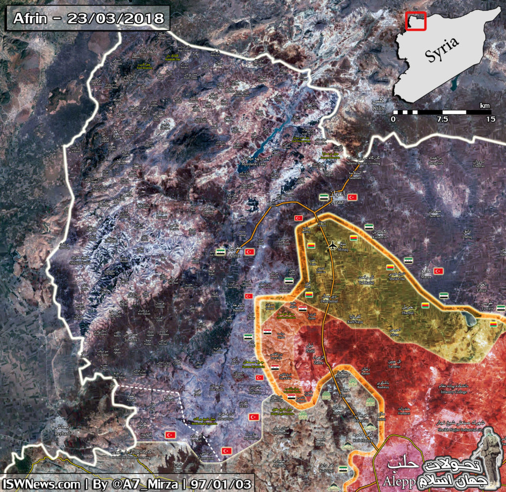 Map Update: Military Situation In Northwestern Syria On March 23, 2018