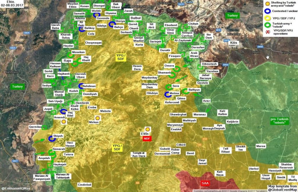 Overview Of Battle For Afrin On March 7, 2018 (Map, Photos, Video)