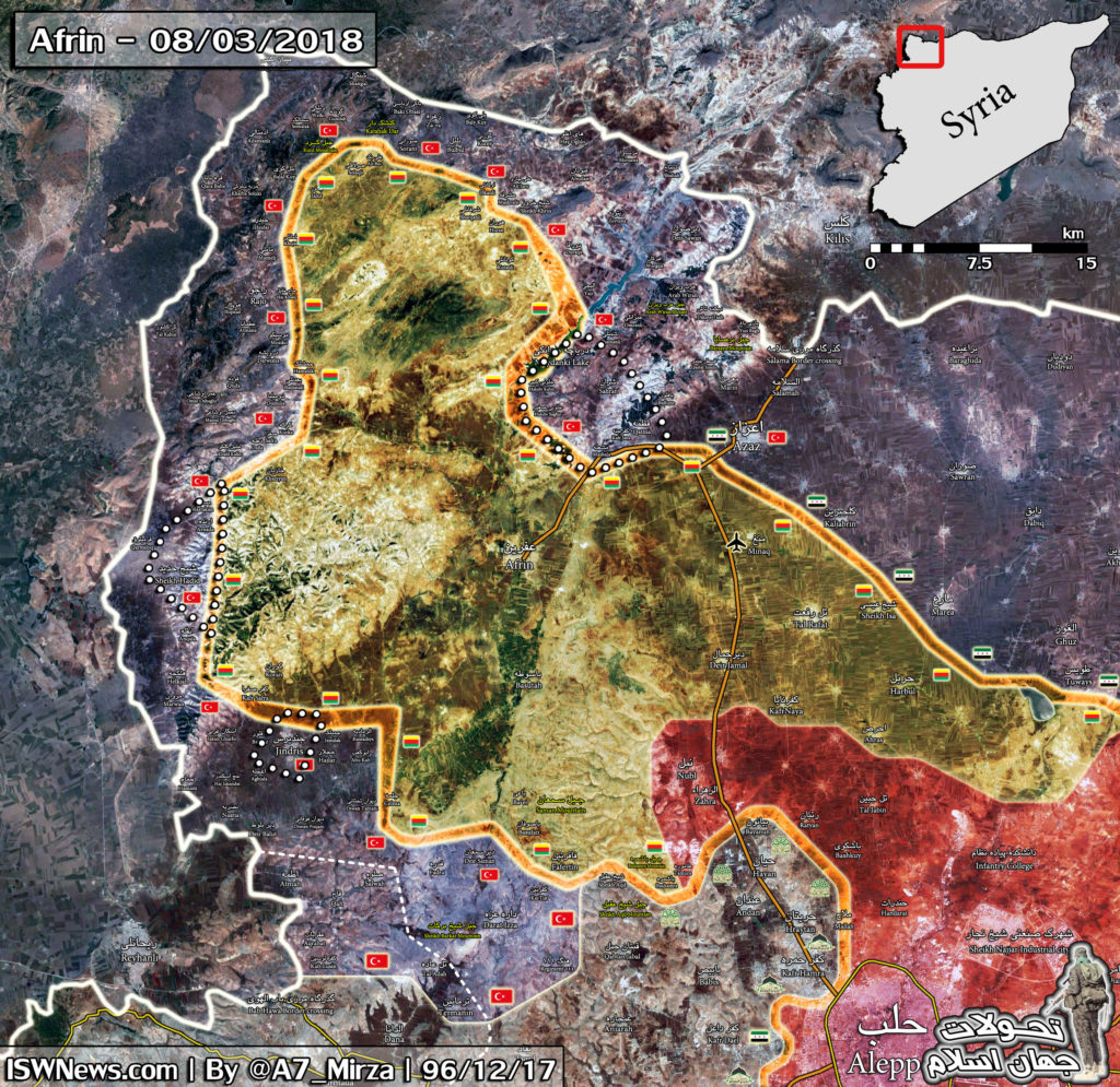 Overview Of Battle For Afrin On March 9, 2018 (Maps, Videos)