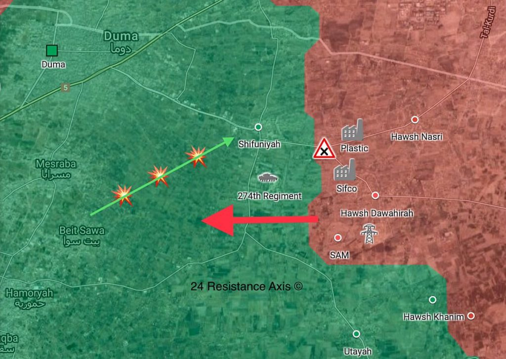 Tiger Forces Advance West Of Recently Liberated Air Defense Base In Eastern Ghouta (Map)