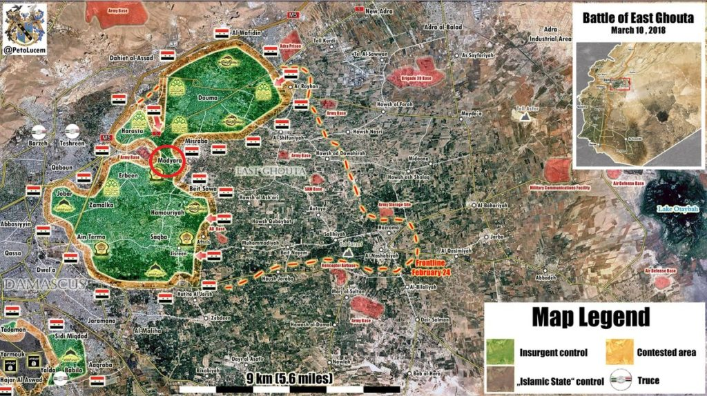 Government Forces Capture Modira Town, Split Eastern Ghouta Into Two Pockets (Map)