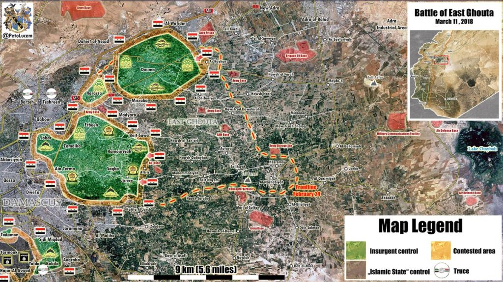 Overview Of Battle For Eastern Ghouta On March 12, 2018 (Video, Maps, Photos)