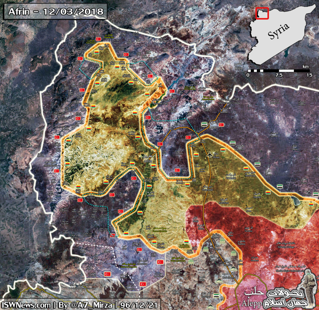 Map Update: Military Situation In Syrian Area Of Afrin On March 12, 2018