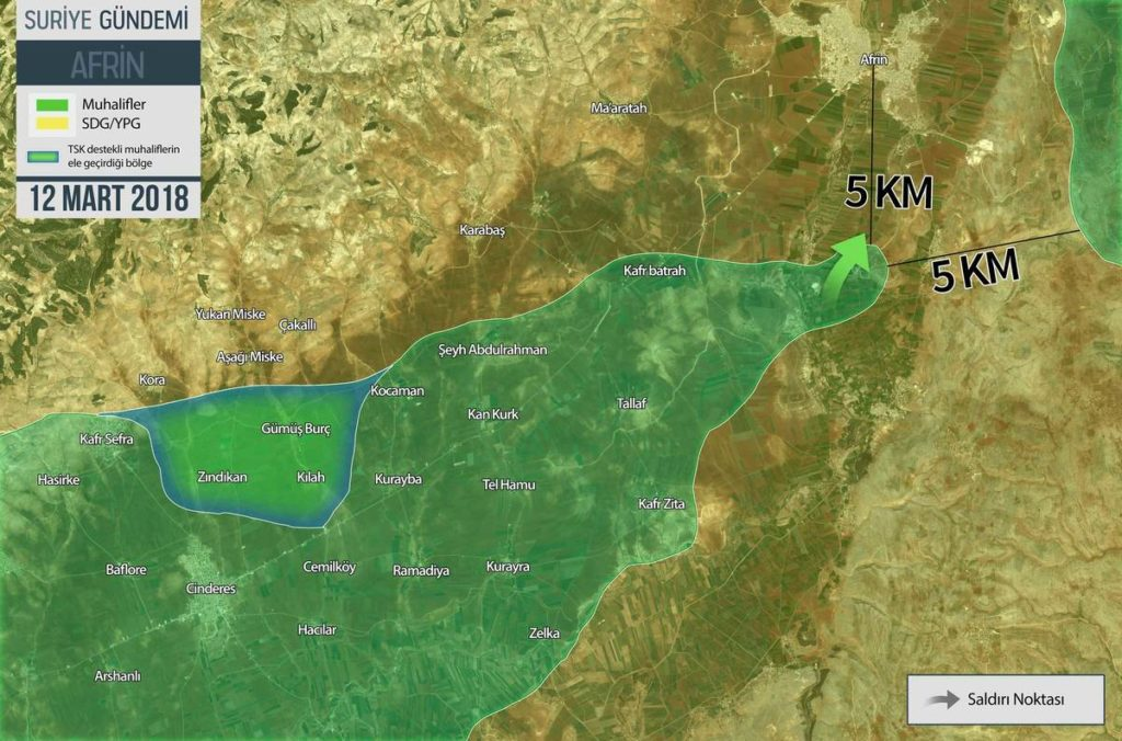 Overview Of Battle For Afrin On March 12, 2018 (Map, Video, Photo)