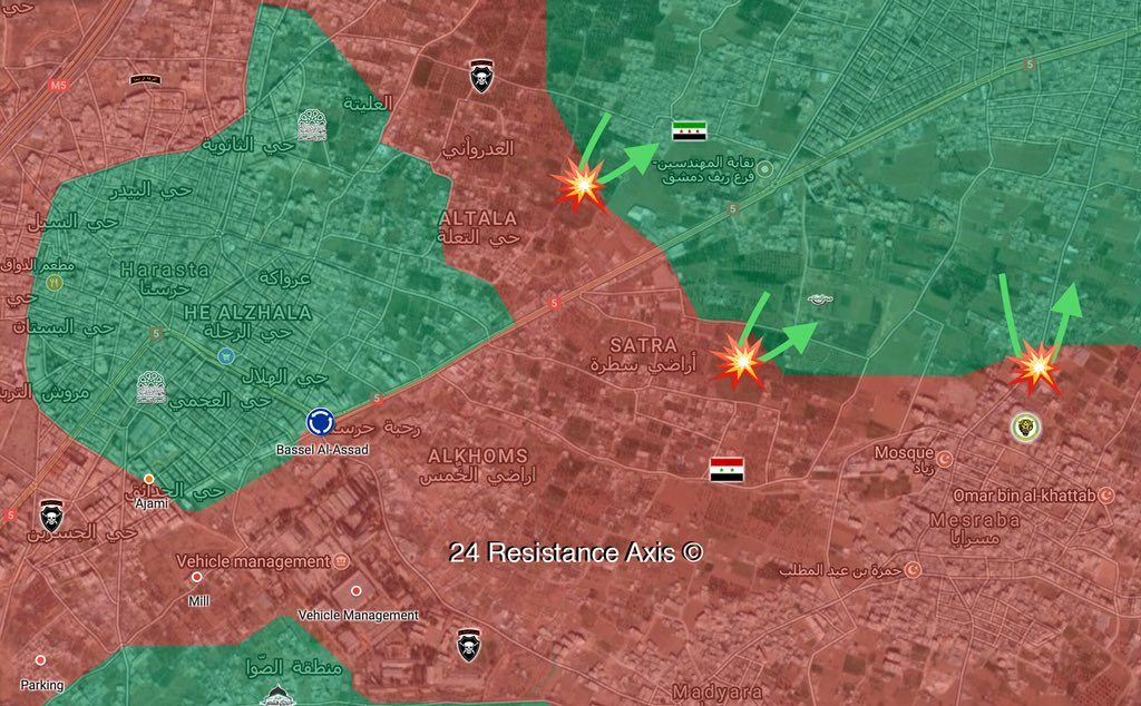 Government Forces Advance In Ein Tarma, Repel Militant Attack South Of Douma (Maps)