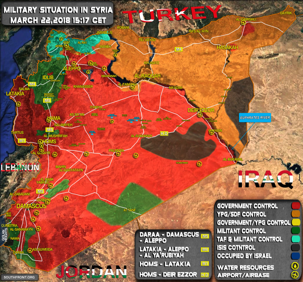 Map Update: Military Situation In Syria On March 22, 2018