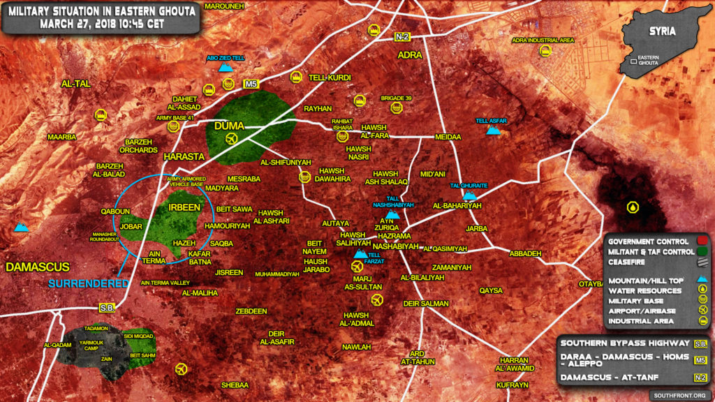 Overview Of Battle For Eastern Ghouta On March 27, 2018 (Map, Videos)