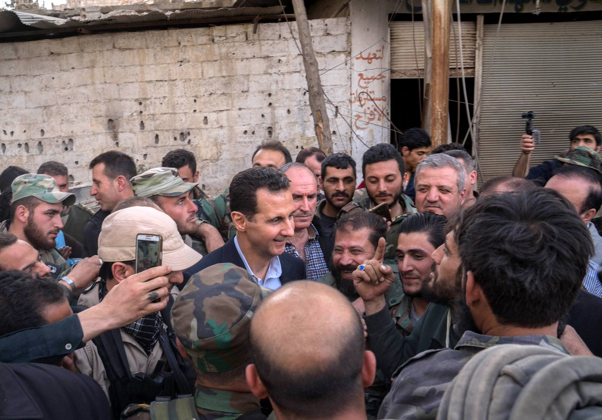 Syrian President Visits Frontlines In East Ghouta, Meets SAA Soldiers, Displaced Civilians (Videos, Photos)