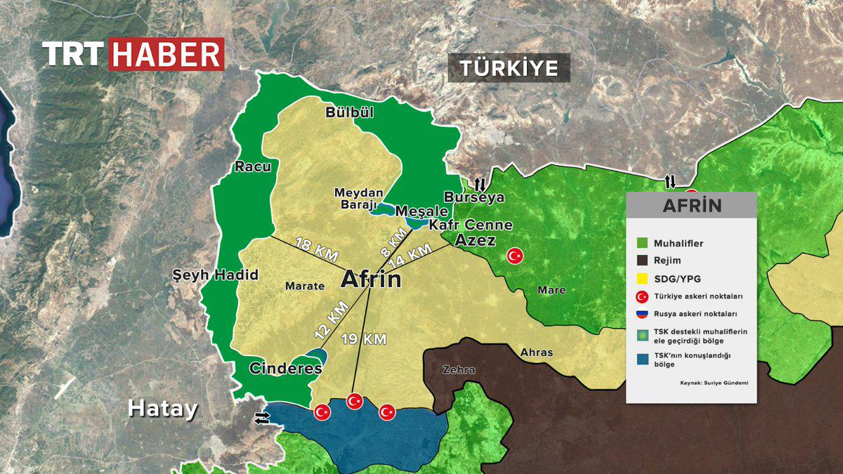 Turkish Army Deploys Within Only 7km Of Afrin City (Map, Videos)