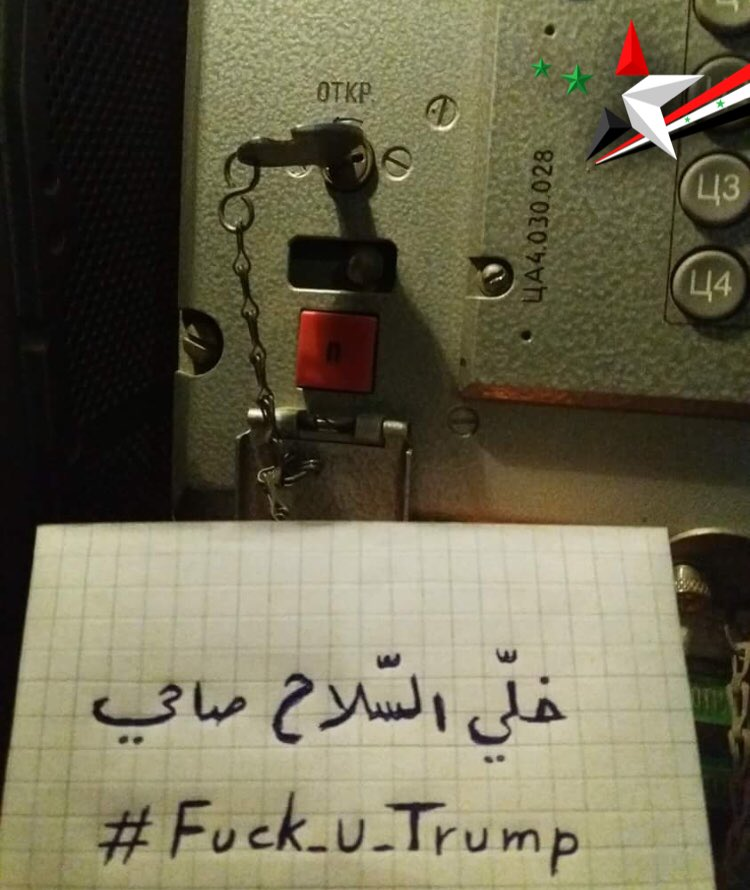 """In Picture: Syrian Air Defense Troops Send Message To Trump's """"Smart"""" Missiles"""