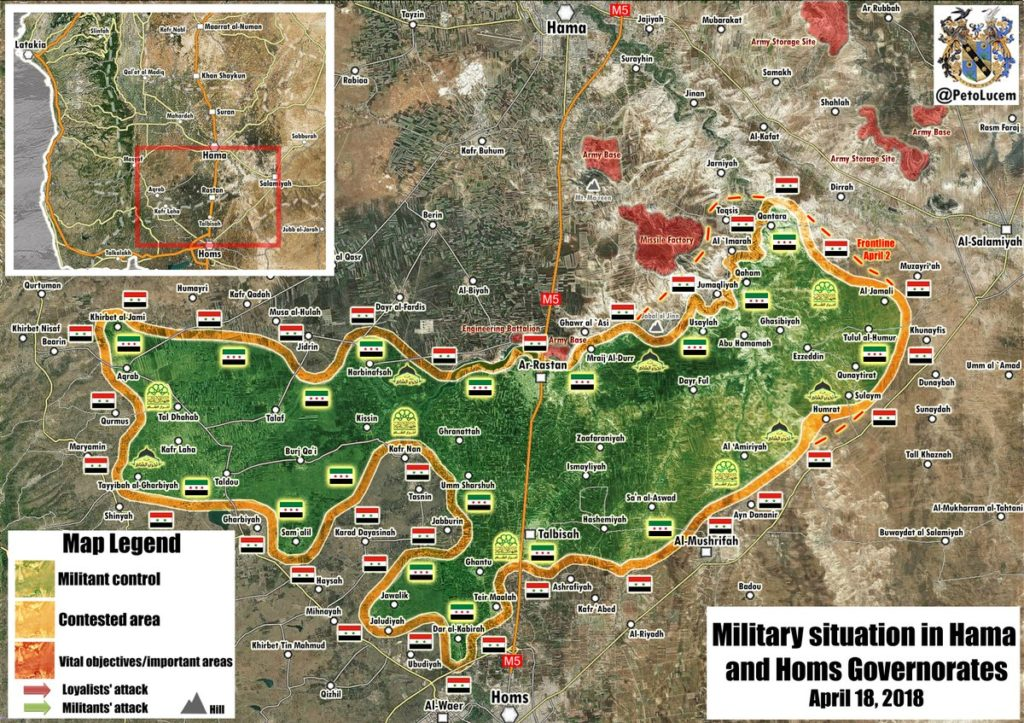 Map Update: Military Situation In Rastan Pocket Following Advance By Syrian Army