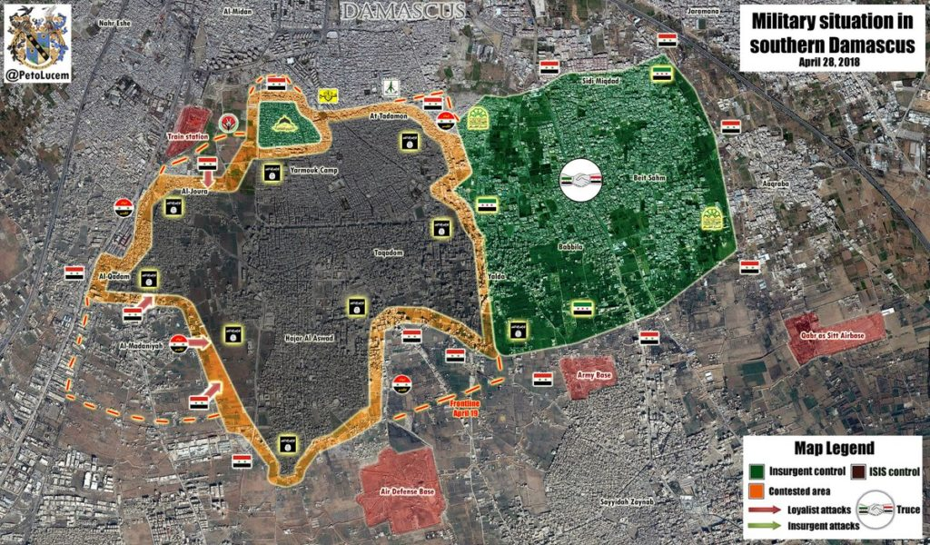 Map Update: Military Situation In Yarmouk Refugee Camp Area South Of Damascus