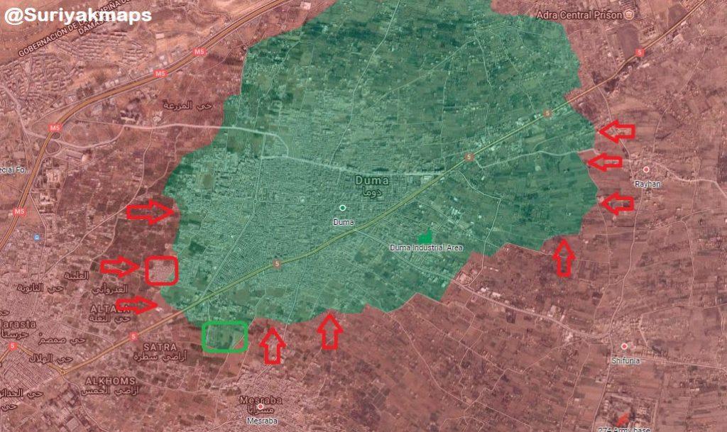 シリア軍がドゥマに進出する中、ジャイア・アル・イスラムは交渉に戻る準備ができている(地図、ビデオ)