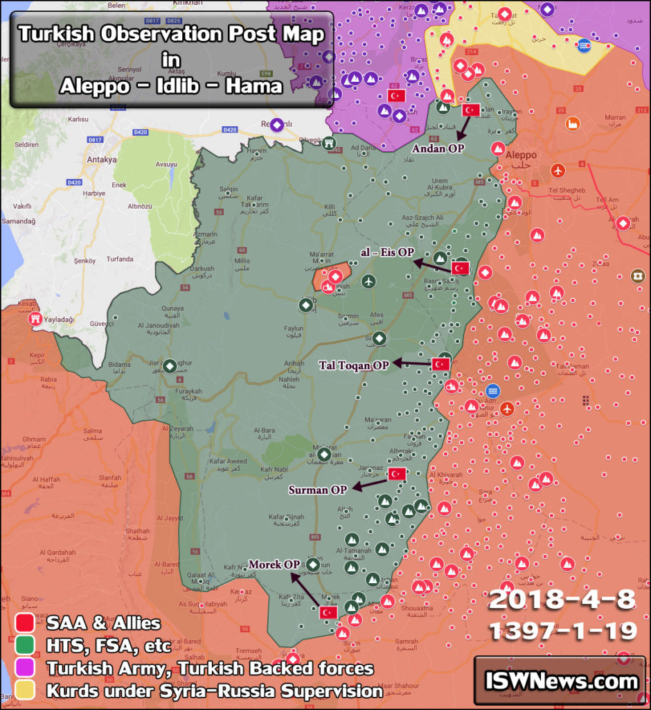Map Update: Key Turkish Military Observation Posts In Western Syria