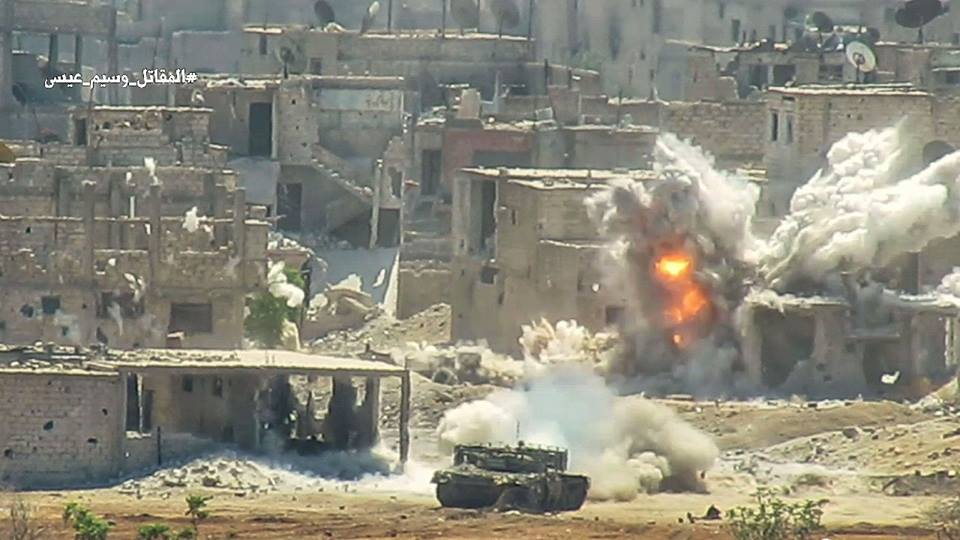 In Photos: Syrian Battle Tank Crushes ISIS Defensive Position In Southern Damascus