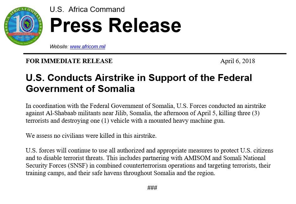 US Airstrike Kills Three Fighters Of al-Shabaab In Somalia