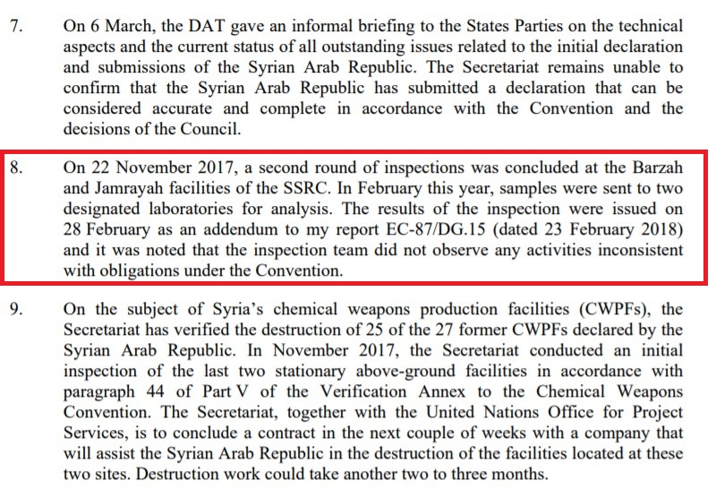 US-led Strike On Syria: Most Of Missiles Spent On Empty Target. OPCW Report Says No Chemical Weapons There