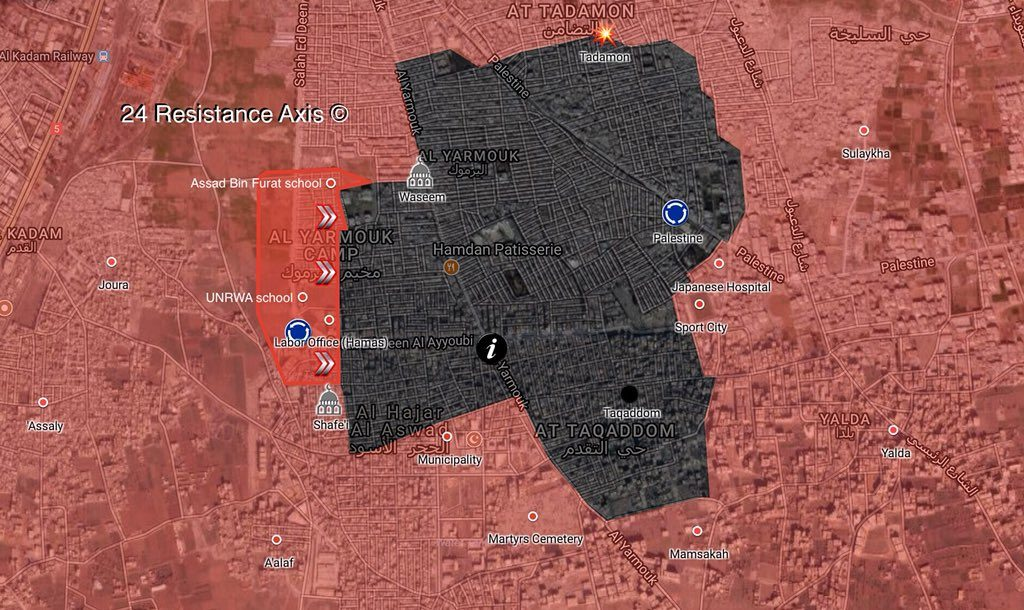 Map Update: Syrian Army Retakes Control Of Assad Bin Al-Furat School, Nearby Points From ISIS In Southern Damascus