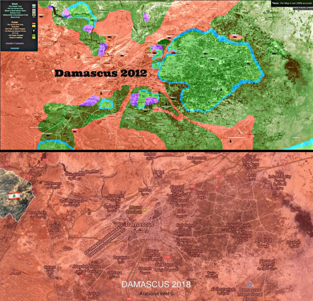 Map Comparison: Military Situation In Damascus Countryside In 2012 And 2018