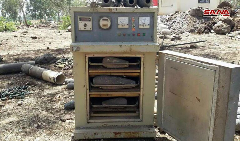 Video, Photos: Government Forces Discover Militants' Workshop For Manufacturing Mortars, Ammunition In Northern Homs