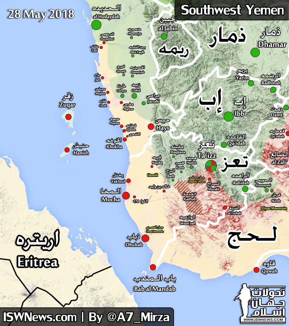 Map Update: Military Situation In Yemen On May 28, 2018 on bahrain on map, mecca on map, persian gulf on map, israel on map, afghanistan on map, kuwait on map, armenia on map, iraq on map, syria on map, arabian sea on map, dubai on map, chile on map, united arab emirates on map, turkey on map, qatar on map, jordan on map, lebanon on map, oman on map, middle east on map, ethiopia on map,