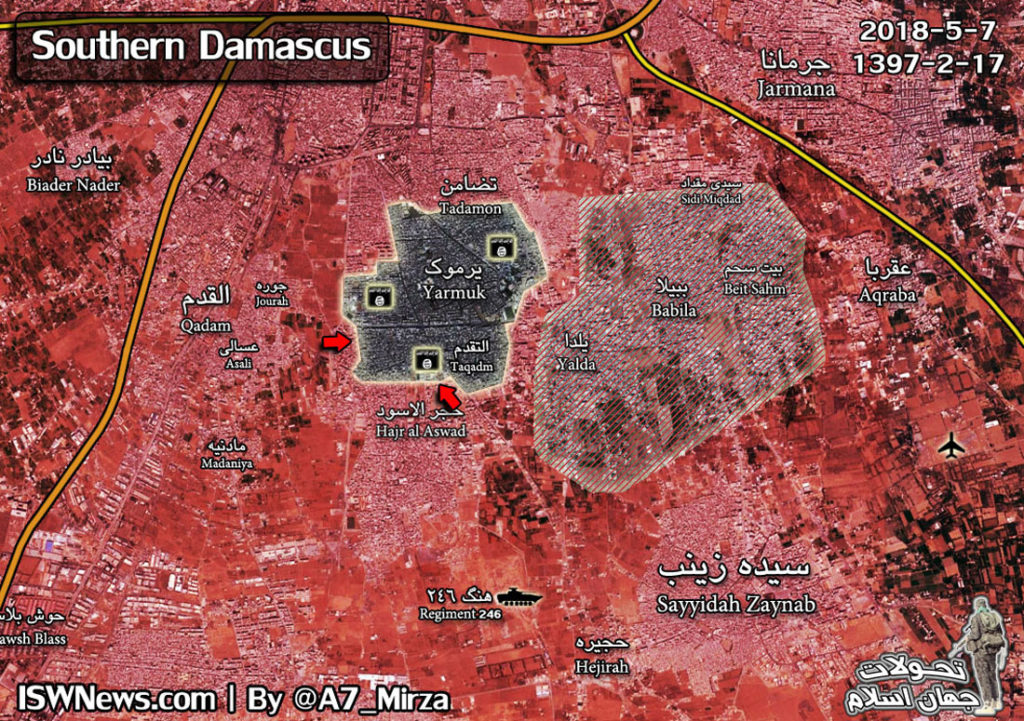 Map Update: Military Situation In Southern Damacsus On May 7, 2018