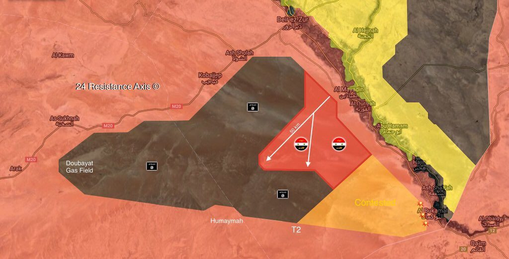 Syrian Government Forces Achieve Large Progress In Their Operation Against ISIS In Deir Ezzor Desert (Map)