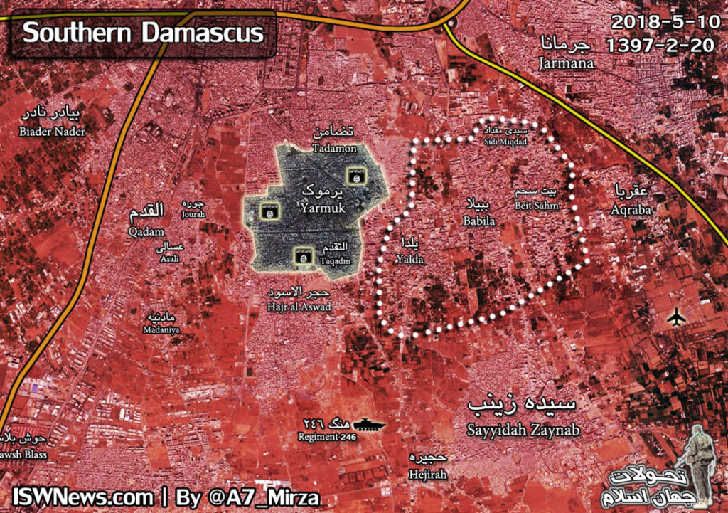 Map: Military Situation In Southern Damascus Following Full Evacuation Of Militants From Eastern Part Of Pocket